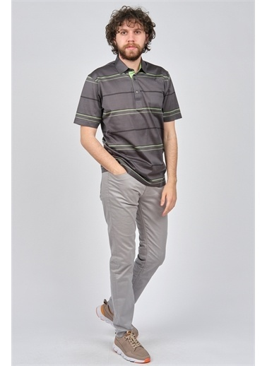 Arslanlı Arslanlı Erkek Çizgili Cep Detaylı Polo Yaka T-Shirt  Füme